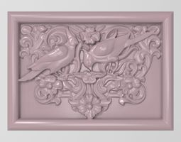 3D printable model Cockatoo parrots couple base relief for