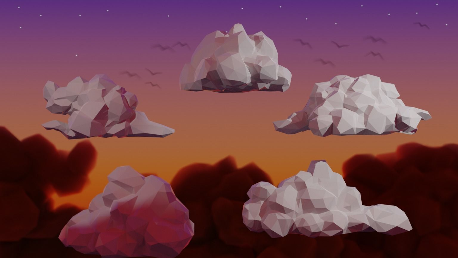 Low Poly Stylized Cumulus Clouds Pack 1