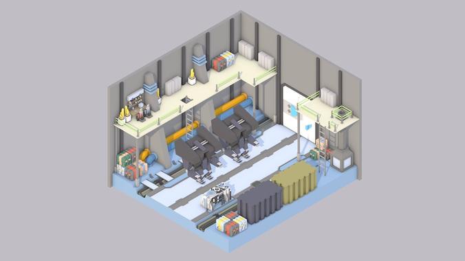 sci-fi room 3d model low-poly obj mtl 3ds fbx c4d 1