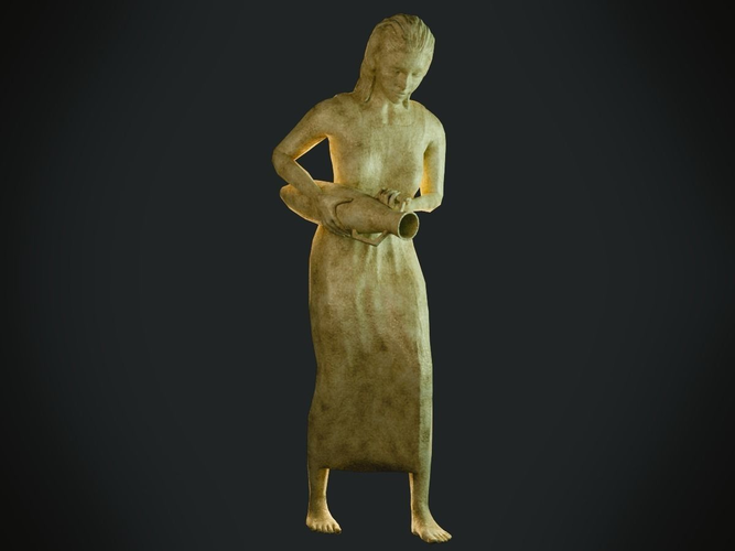 female statue 3d model low-poly obj mtl 3ds fbx blend dae unitypackage prefab 1