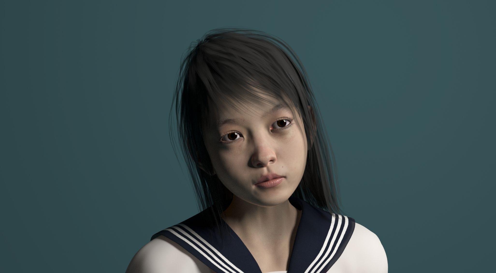 3D Asian Girl ai for genesis 2 female | 3d model