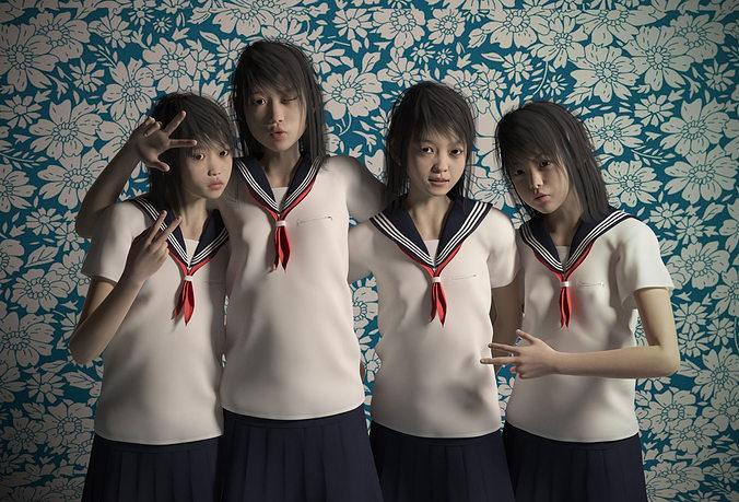 asian girls for genesis 2 female pack 3d model duf 1