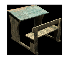 Old school desk - Game Ready 3D asset