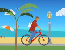 3D model animated 2D Beach Ride Vector Animation
