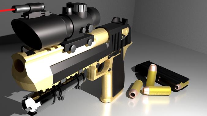 desert eagle pack--pbr metal 3d model obj fbx blend mtl 1
