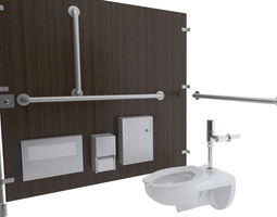 3D disposal Toilet Stall-001B