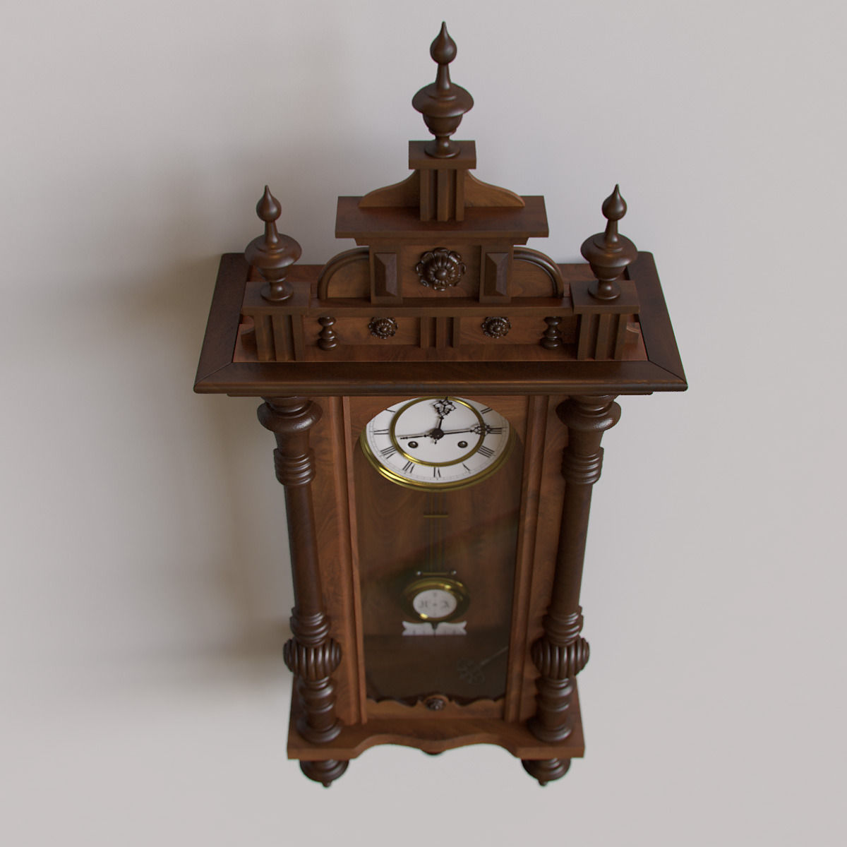 antique pendulum wall clock 3d model max obj 5