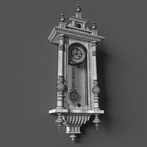 Antique Pendulum Wall Clock Model Max Obj Mtl 11