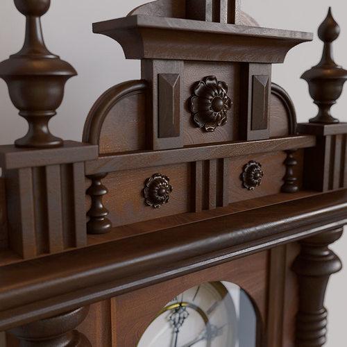antique pendulum wall clock 3d model max obj 8