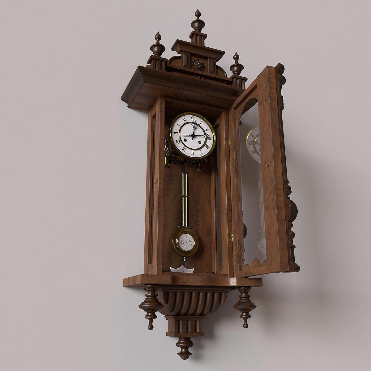 Antique Pendulum Wall Clock 3D Model .max .obj