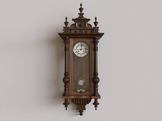 Antique Pendulum Wall Clock 3d Cgtrader