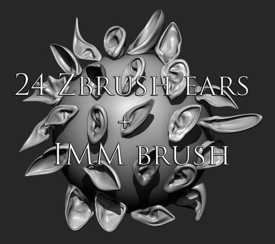 24 ears plus imm brush  3d model obj mtl ztl 1