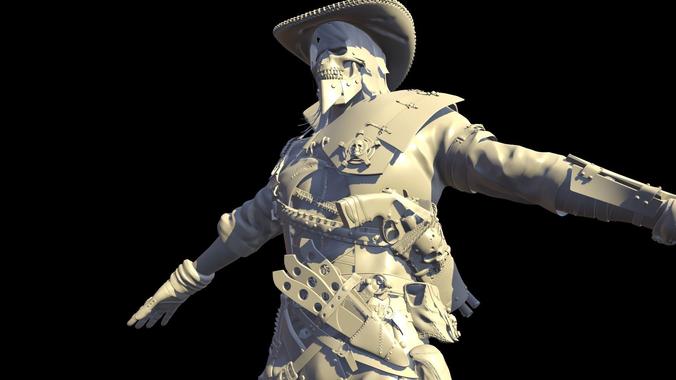hellish sheriff high poly 3d model obj mtl 1