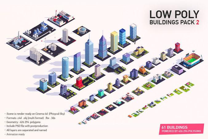 low poly buildings city pack 2 3d model low-poly obj mtl 3ds fbx c4d pdf 1