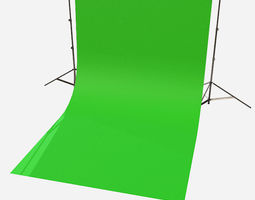 Low Poly PBR Green Screen Backdrop 3D model