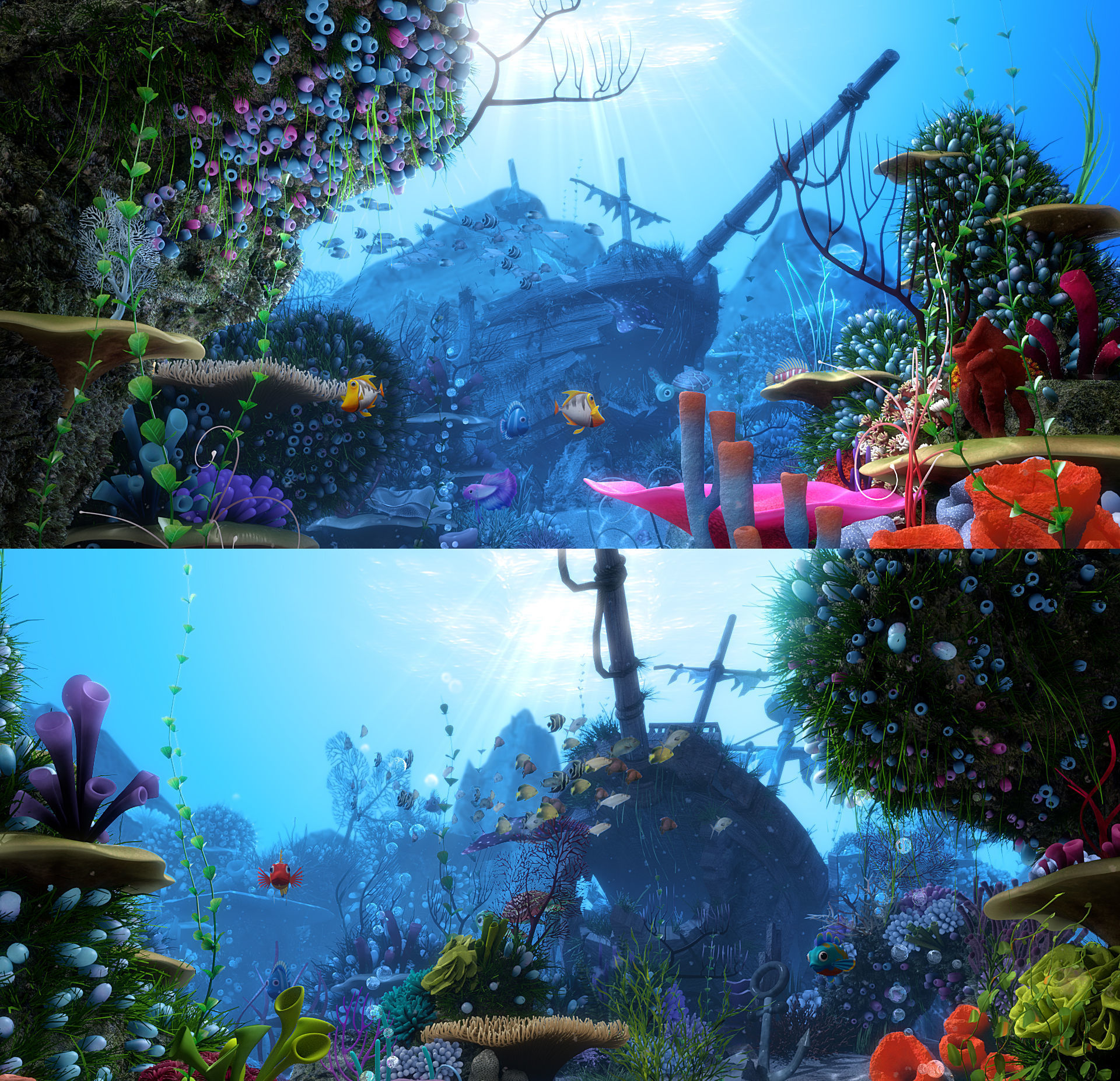 Cartoon Underwater Scene Rigged Animated