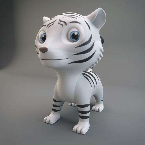 white tiger 3d model low-poly max obj mtl fbx c4d ma mb 1