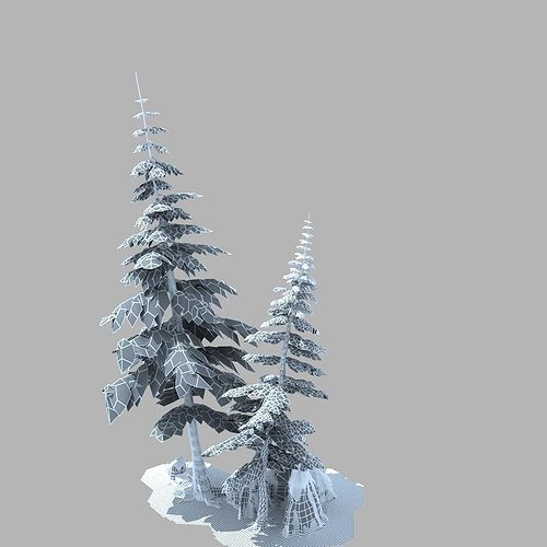 snow pine tree 3d cgtrader