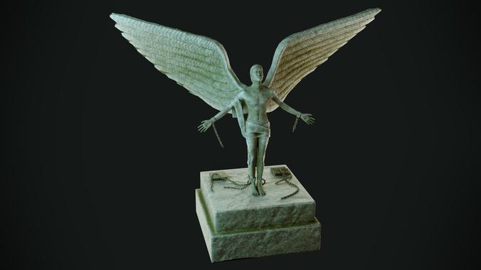 free man statue 3d model low-poly obj mtl 3ds fbx blend dae unitypackage prefab 1