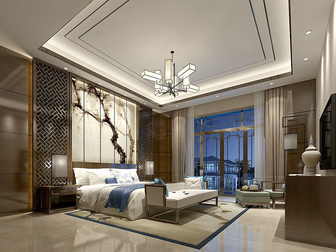 Stylish master bedroom design 69 3D model   CGTrader on Model Bedroom Design  id=66793