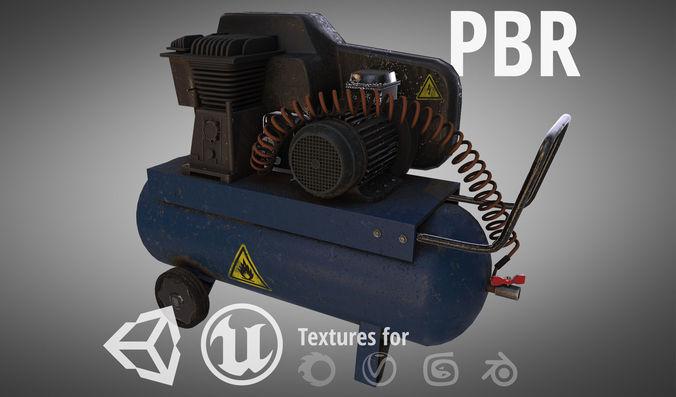 compressor 3d model low-poly max obj mtl fbx blend tga 1