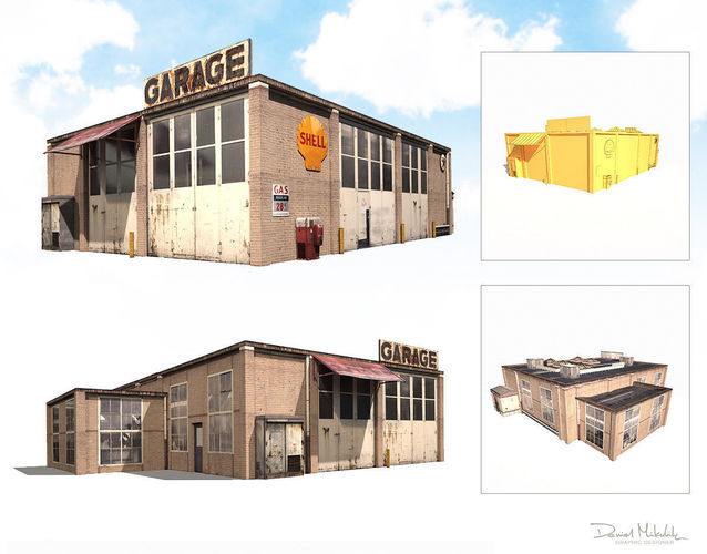 3d asset garage building 188 low poly cgtrader