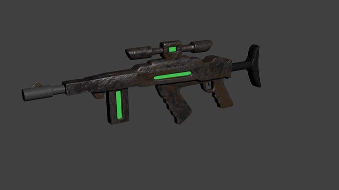 Futuristic Rusty Assault Rifle 3D | CGTrader