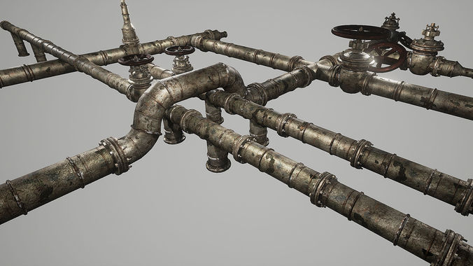 rusted pipes pack  3d model low-poly fbx tga 1