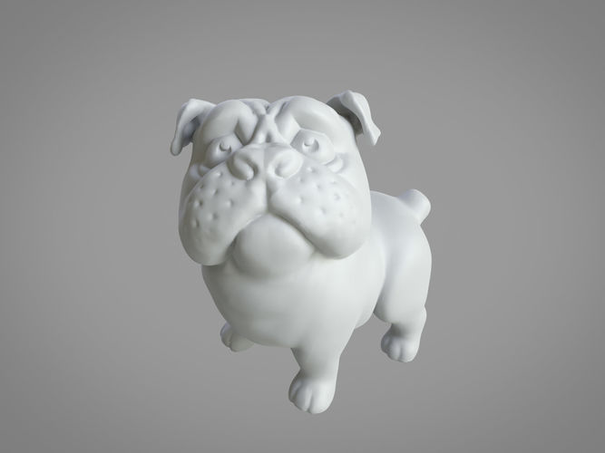 3d printable standing pug 50mm and 100mm 3d model stl 1
