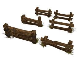 Low Poly Fence Set 02 3D model