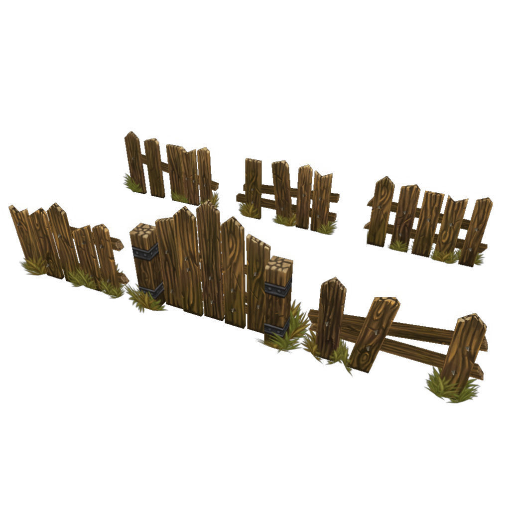 Low Poly Fence Set 03 | 3D model