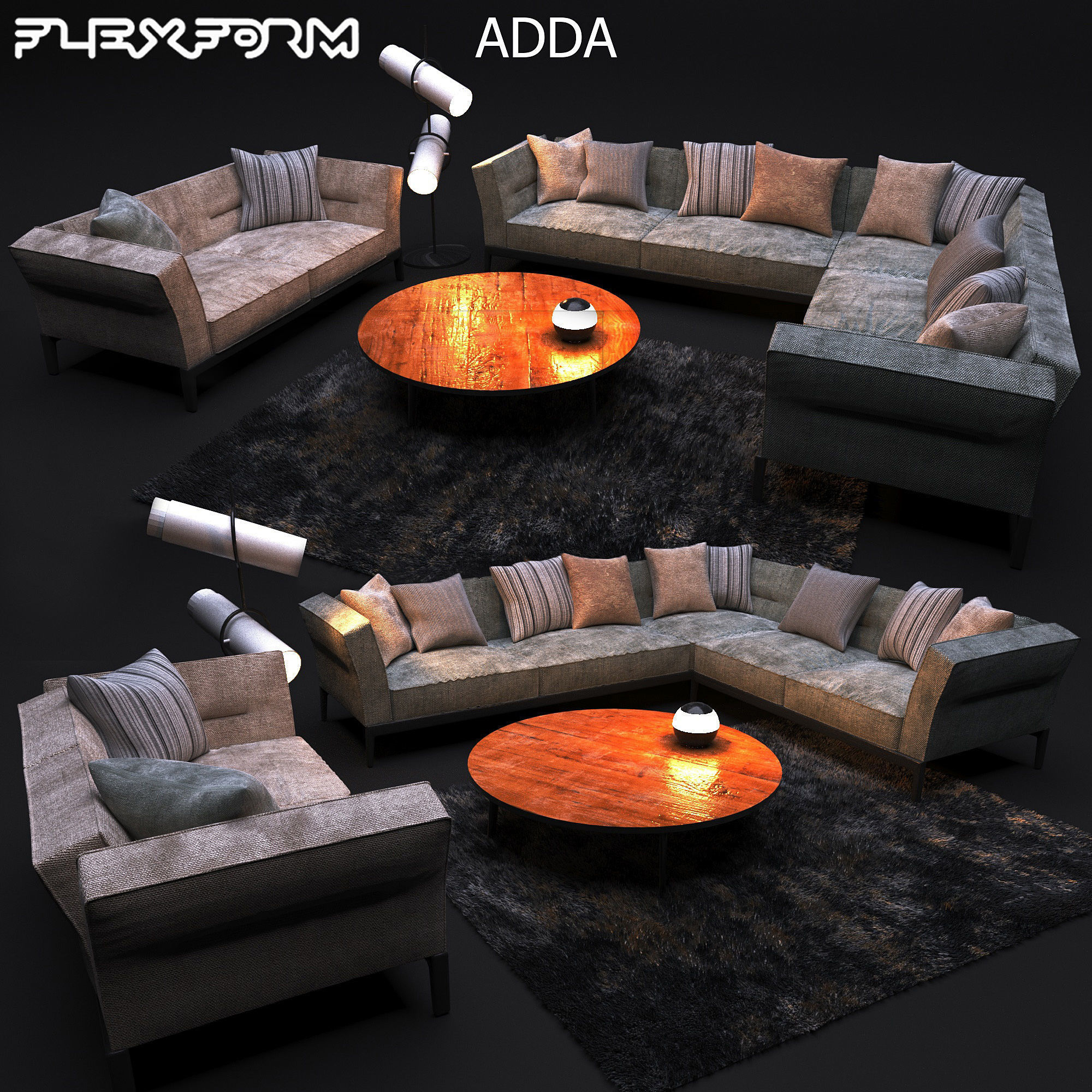 Brilliant Sofa In Modern Style Flexform Adda 3D Model Gmtry Best Dining Table And Chair Ideas Images Gmtryco