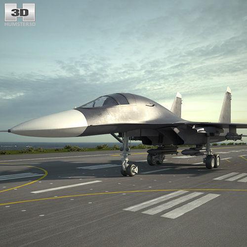 sukhoi su-34 3d model max obj mtl 3ds fbx c4d lwo lw lws 1