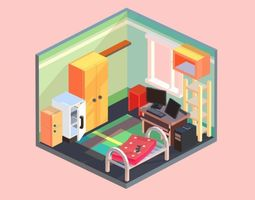 Living room 3D asset game-ready
