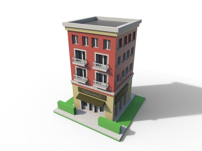 3d asset low poly cartoon building cgtrader for 3d house builder online