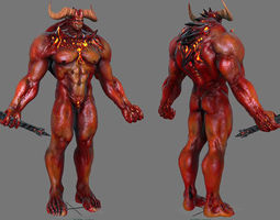 Demon Warrior 3D asset animated