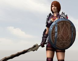 game-ready animated 3d asset female warrior
