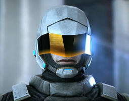 3d asset animated futuristic soldier low-poly