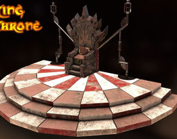 low-poly king throne 3d asset