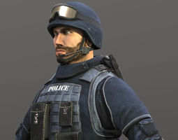 low-poly policeman animated 3d model