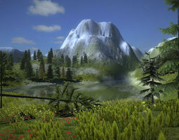3d asset mountain vegetation low-poly