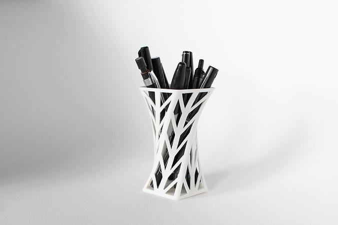 008f - pen holder - wireframe - arrowhead pattern -  3d model stl 1