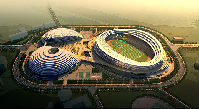 grand stadium with posh exterior 3d model max obj fbx 1