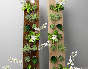 Flowers in wood botanical 3D