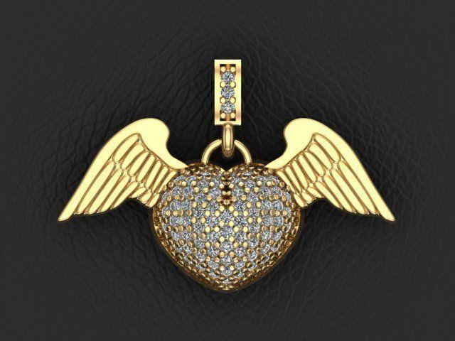 3d printable model angel heart pendant cgtrader angel heart pendant 3d model stl 1 aloadofball Choice Image