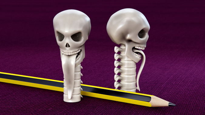 skull pencil cap 3d model stl ige igs iges stp 1