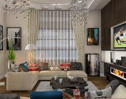 living room 3D interior 3d