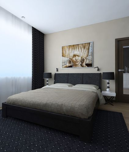 Nice Bedroom With Dark Carpet 3D Model
