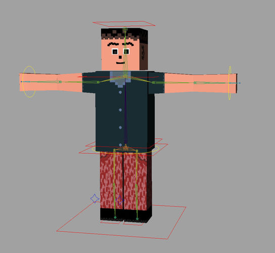 Mine craft style low poly rigged character for games