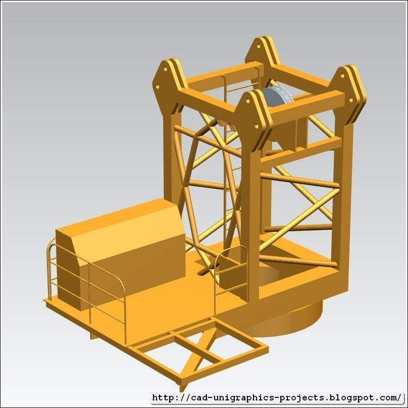 Tower Crane Design : Tower crane cabin segment free d model